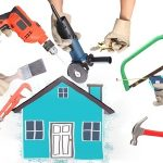 15379545 - selection of tools in the shape of a house, home improvement concept